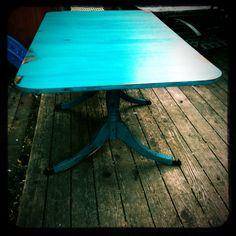 duncan phyfe folding table, peacock blue