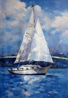 Painting Oil On Canvas Products 54 Trendy Ideas Sailboat Drawing, Sailboat Art, Sailboat Painting, Nautical Art, Sailboats, Canvas Paintings For Sale, Oil On Canvas, Canvas Art, Scenery Paintings