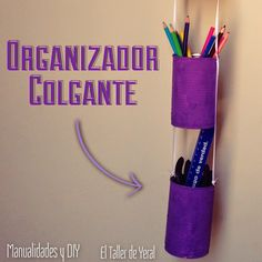 Organizador colgante con latas