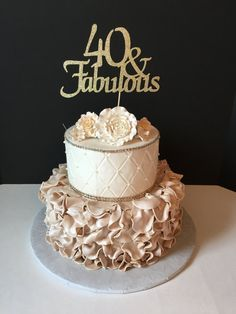 ANY NUMBER Gold Glitter 50th Birthday Cake Topper 50 And Fabulous Any Number