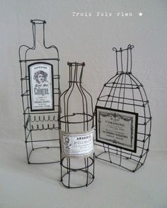 Not bottles; Wire Crafts, Diy And Crafts, Sculptures Sur Fil, Stylo 3d, Art Fil, Wire Art Sculpture, Wire Drawing, 3d Pen, Wire Hangers