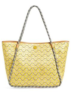 TORY BURCH Mosaic Straw Tote Yellow/Cream $250 (Compare Elsewhere $300) SHIPS FREE BEST PRICES YOU WILL FIND ANYWHERE ON GENUINE LADIES DESIGNER BRANDS! FREE WORLD SHIPPING & LOCAL DELIVERY AVAILABLE AT THE SURF CITY SHOP in Huntington Beach, California Major Credit Cards Accepted