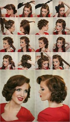 Nice retro look. Love both the hairstyle and makeup. Open back dress hair updo prom vintage short
