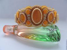 """Купить Тиара """"Золото инков"""" - желтый, ободок для волос, корона, тиара, Вышивка бисером"""