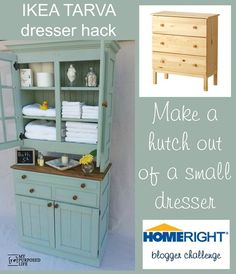 My Repurposed Life IKEA Tarva  dresser hack to storage cabinet hutch