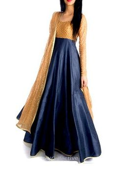 Royal blue n golden floor length anarkali