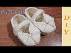 Zapatos faciles tejidos a dos agujas para niños