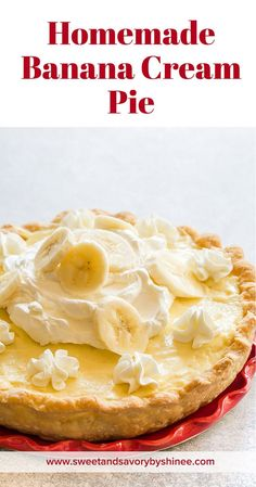 Family favorite banana cream pie from scratch. It disappears in seconds, and I always have to make 2 pies when bringing to parties. The BEST Banana Cream Pie! #bananacreampie #homemadepie #pie #homemadevanillapudding #piecrust via @shineshka