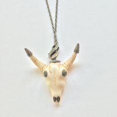 Bull Skull Diamond and Silver! Boho chic necklace!