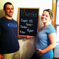 17 weeks pregnant. chalk board pregnancy tracker. Baby name announcement.