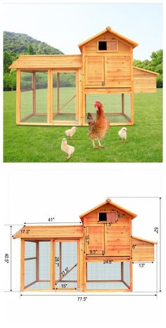 "Living room + courtyard + nesting box for egg laying= 82"" Large Chicken / Rabbit Cages w/ Wheels #backyard #poultry #pets http://www.zosomart.com/pet-supplies/chicken-rabbit-cage/82-chicken-chicken-house-w-wheels.html"