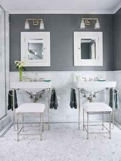 bathroom ideas. Like the contrast of white and gray