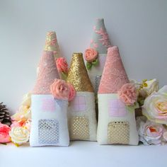 Tooth Fairy pillow fabric house gray pink by #CherryGardenDolls #toothfairy #nursery #softies #toys #house