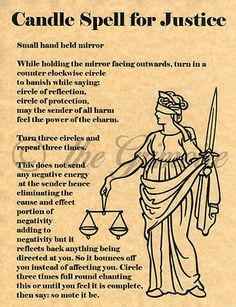Candle Spell for Justice, Book of Shadows Page, BOS Pages, Rare Wiccan Spell