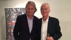 Jimmy Page with designer Paul Smith who designed LZ scarves for the release of the re-mixed box sets. Oct. 2014.