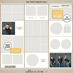 Photo Templates Vol 1 by Sahlin Studio - Perfect for your Project Life album! Photo Album Scrapbooking, Pocket Scrapbooking, Digital Scrapbooking, Project Life Album, Some Text, Scrapbook Designs, Book Of Life, Smash Book, Journal Cards