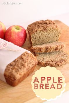 Apple Bread  Ingredients: 1/2 sour cream 2 c sugar  3/4 c applesauce  3 eggs 1 tsp cinnamon  2 tsp vanilla 1 tsp salt 1/2 tsp nutmeg  2 c shredded apples  5 c flour  1 tsp baking soda Grease & flour 2 loaf pans.  Bake 50-60 mins at 350F https://docs.google.com/file/d/0B9OLSnCU3BoJVFB3eW4wbFVwaUE/edit?usp=drive_web&pli=1