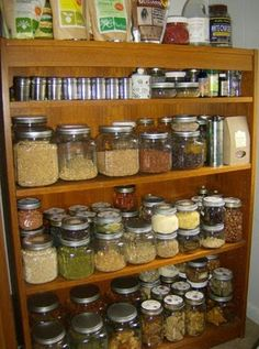 Raw food pantry essentials. Great bookcase conversion to make do pantry too!