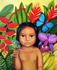 Amazonas by Akiko Takashima Colombia Colombian Culture, Colombian Art, Arte Latina, Mexican Artwork, Mother Art, Native American Art, Canvas Art Prints, Art For Kids, Folk Art