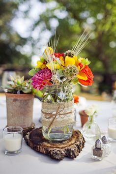 Lace, twine, mason jars, succulents, and burlap...top staples of a rustic wedding #weddingideas #rustic #shabby #wedding #countrywedding For more Cute n' Country visit: www.cutencountry.com and www.facebook.com/cuteandcountry