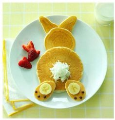 Pancakes are easy and kids love them. Make Easter morning extra special by shaping your pancake into an Easter Bunny with whipped cream for a tail. We think even adults would smile. :)