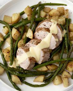 Mals varkenshaasje een lekker mosterdsausje met gebakken sperziebonen en patatjes. Hier maak je jong en oud blij mee!