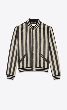 Varsity jacket in striped water snake, Front view Mens Fashion Suits, Womens Fashion, Fashion Menswear, Fashion Edgy, Varsity Jacket Outfit, Bomber Jacket, 70s Shirts, Striped Jacket, Summer Outfits