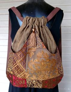 Backpack Brown and Gold Metallic Patchwork by piperscrossing, $45.00