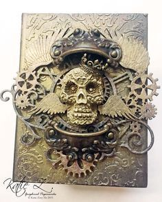 Shimmerz Paints: Steampunk Skull Altered Book Cover