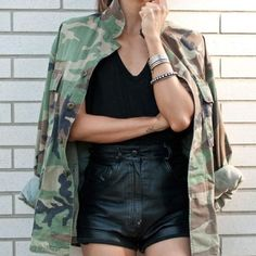 camo shirt with leather shorts