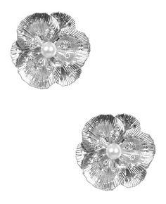 Metal Pearl Flower Earring - Teen Clothing by Wet Seal