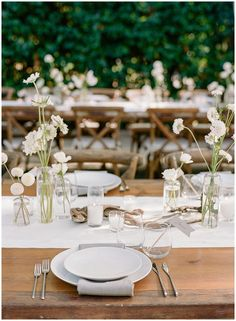 An all-white wedding can be delicate - just add your flowers for your reception tables in small bud vases for an elegant, rustic feel Wedding Table, Diy Wedding, Fall Wedding, Rustic Wedding, Wedding Venues, Wedding Ideas, Elegant Wedding, All White Wedding, Floral Wedding