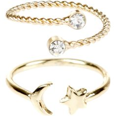 Monsoon 2 x Moon & Star Open Midi Rings ($8) ❤ liked on Polyvore featuring jewelry, rings, top finger rings, midi rings, mid-finger rings, mid knuckle rings and star ring
