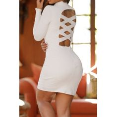 USD12.49Sexy Turtleneck Long Sleeves Back Hollow-out White Polyester Sheath Mini Dress