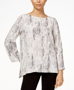 Eileen Fisher Printed High-Low Top, Regular & Petite - Tan/Beige XXS