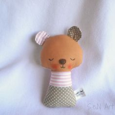 #SALE #Fabric Soft #Baby #Rattle Bear Fabric Rattle Baby by SenArt1