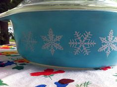 """Turquoise Snowflake Vintage Pyrex Dish 2.5 QT with Lid by PyrexandPennies, $22.00. Many recipes in my cookbook, """"Casserole Crazy: Hot Stuff for Your Oven,"""" were tested in this dish!"""