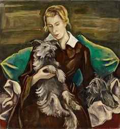 Karl Hofer - Bildnis Felicitas Haller mit ihren Skye-Terriern Romulu und Remus (1919)