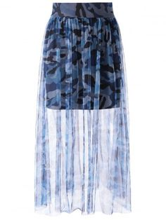 $10.94   Camo Tulle Grenadine Printing Skirt For Women   Psychedelic Monk