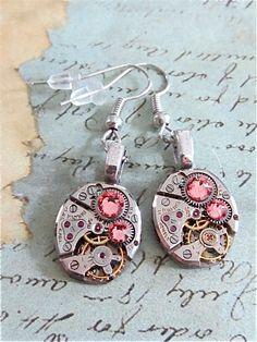 Steampunk ear gear - Light Rose - Steampunk Earrings