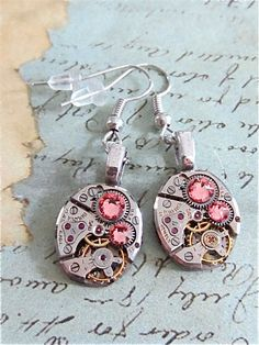 Steampunk ear gear - Light Rose - Steampunk Earrings