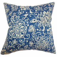 "Cotton-linen pillow with a damask-inspired motif and feather-down fill. Made in the USA.    Product: PillowConstruction Material: Cotton-linen cover and down fillColor: Blue and ivoryFeatures:  Insert includedHidden zipper for easy removalReversible pillow with same fabric on both sides Dimensions: 18"" x 18"""