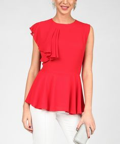 This Red Asymmetrical Peplum Top by Isabel by Rozarancio is perfect! #zulilyfinds