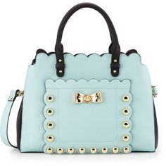 Betsey Johnson Studded Affair Satchel Bag ($48) ❤ liked on Polyvore featuring bags, handbags, minty blue, bow purse, studded satchel handbag, blue satchel handbags, satchel handbags en bow handbag