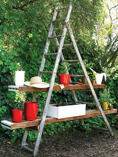 """garden station   reusable items  ladder decor    For More Fantastical Home and Garden Whimsy Ideas, visit Dig-in.co    """"Jonesboro, AR and West Tennessee's Premiere Whimsical Nursery, Lawn-care, Landscape and Lighting Dreamers"""""""