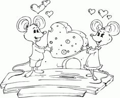 mice sharing cheese heart coloring page - Mana vietne Heart Coloring Pages, Cool Coloring Pages, Coloring Pages For Kids, Coloring Books, Penny Black, Copics, Cute Illustration, Digital Stamps, Pet Birds