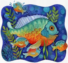 fish - Create individual fish and plants, print, let kids cut around, decoupage on a background they paint.