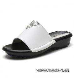 PU Damen Sommer Slippers Schwarz Weiß
