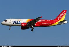Thai VietJet Air (TH) Airbus A320-214 HS-VKA aircraft, with the stickers ''go with Visa & bay la thich ngay'' on the airframe, on short finals to Thailand Bangkok Suvarnabhumi International Airport. 11/11/2016. (bay la thich ngay=enjoy flying).