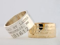 Personalized Ring Engraved Ring Wide Band par OliveBungalowJewelry
